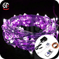 Hot Sale 2017 Purple Copper Wire Fairy String Lights DC Powered With Remote