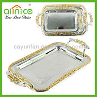 Hot sale stainless steel silver tray/serving tray/rectangle plate