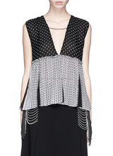 New collection black silk chiffon with white polka print womens top for wholesale