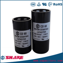 low voltage starting capacitor CD60 200v 130uf capacitor