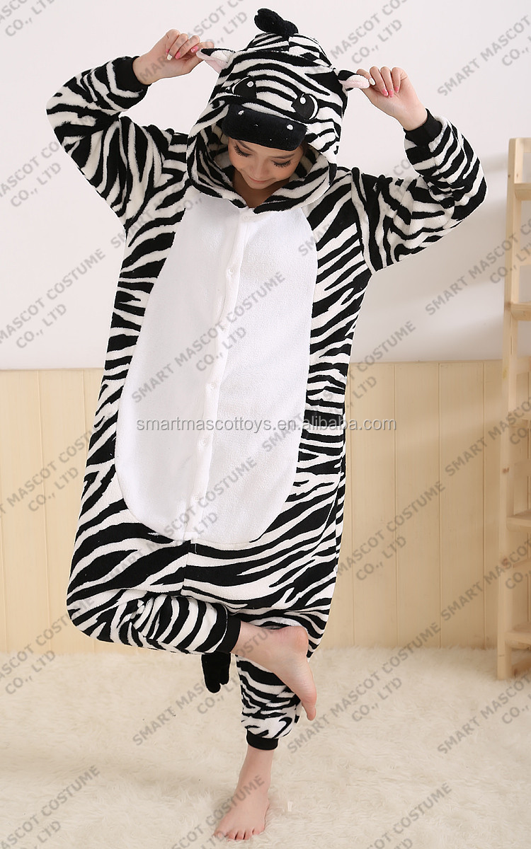 Plus size long sleeve winter zebra pajamas S-XL adult zebra pajamas