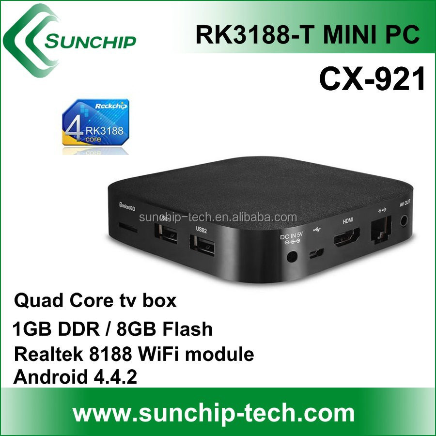 sunchip rockchip rk3188-T CX-921 Quad-core 1G / 8g flash android 4.4.2/ Android tv Box