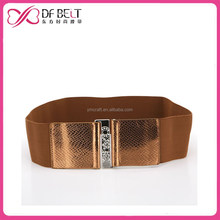 2015 designer woman golden snake elastic belts with rhinstone buckle