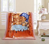 Promotional Gift Factory Direct Price Double Layer Mink baby blanket Cartoon Printed