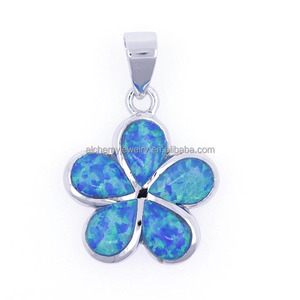 wholesale jewelry supplier china 925 sterling silver gemstone opal flower pendant
