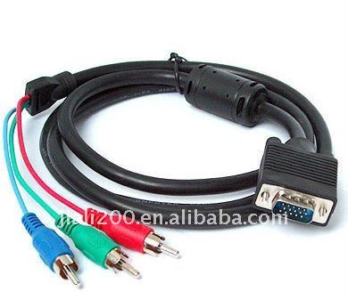 Laptop VGA to TV S-Video RCA AV 3 Adapter Cable NEW 5ft