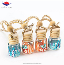 Empty polymer clay coating car hanging perfume bottle / crystal glass air freshener bottle with wooden diffuser cap