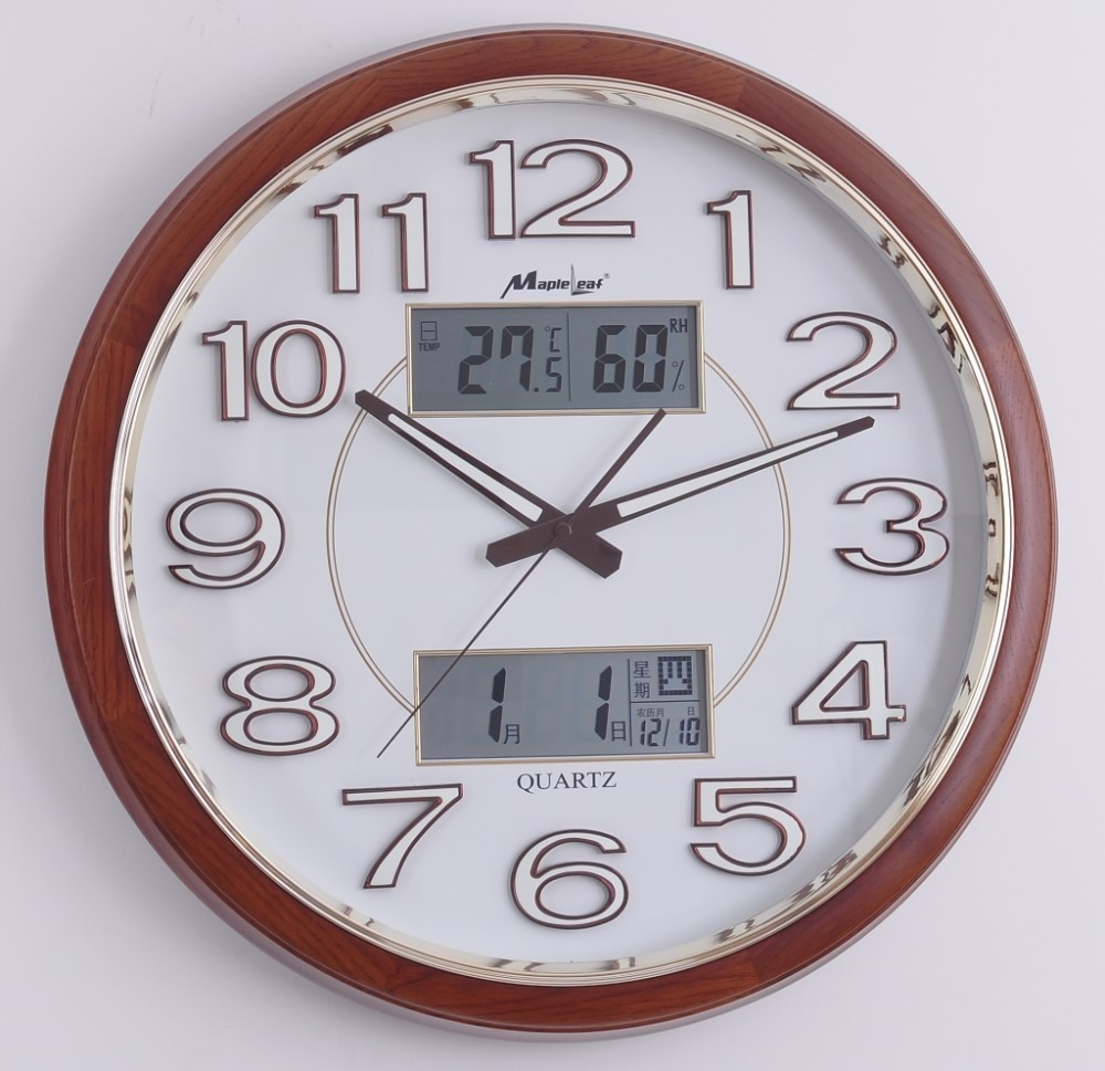 Multifunctional wooden round wall clock luminous lcd for Small clocks for crafts