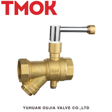 Brass Temperature Measurement Ball Valve Y Filter with Lock Inside Valvula
