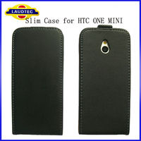 2013 New Arrival 100% Perfect Fit Genuine Leather Flip Case for HTC One Mini M4 Laudtec