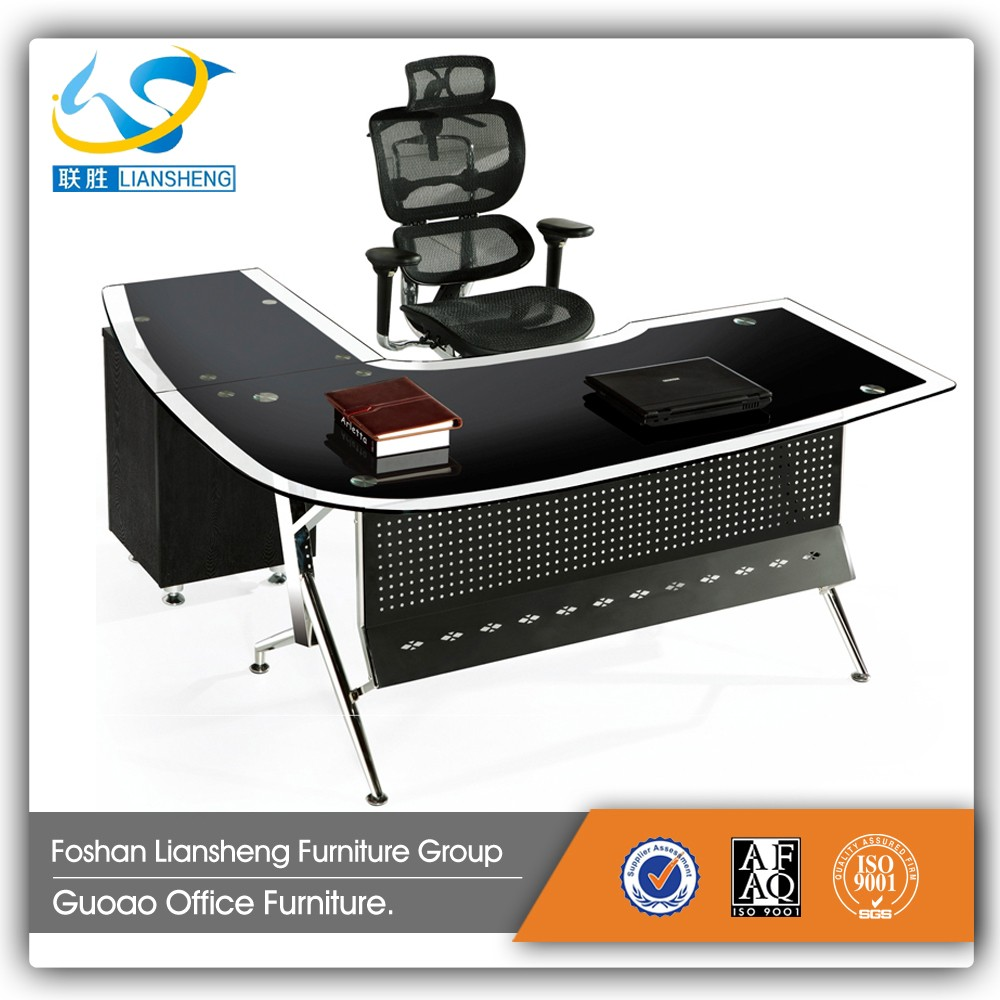 Black Executive Glass Top Computer Office Table GDB001 with metal frame