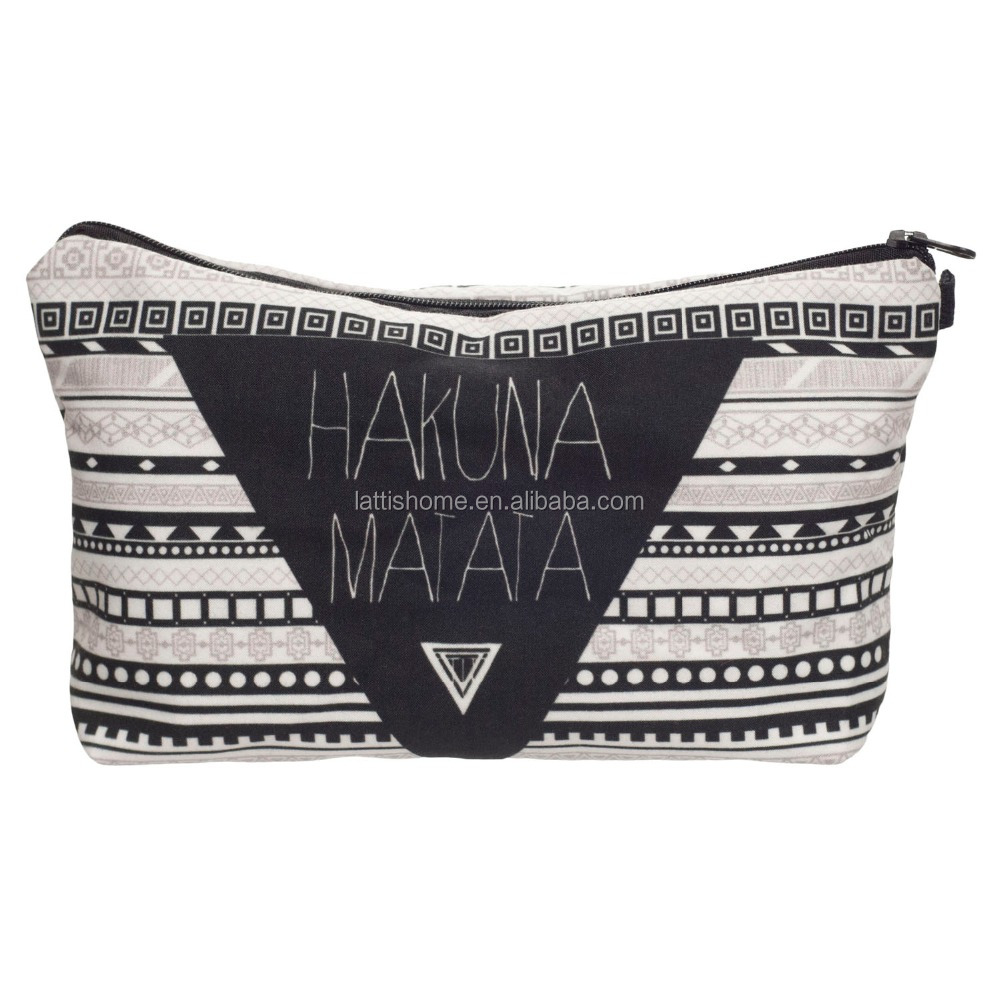 Waffle Travel Makeup Compartment fabric Cosmetic Bag with Hakuna Matata