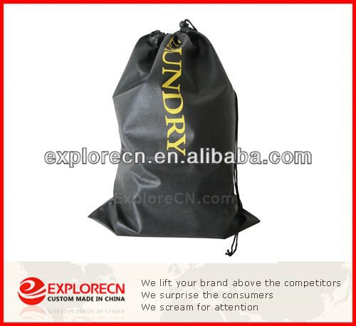 Black polyester cute drawstring bags/laundry bag