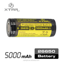 XTAR new arrival 8a high drain button top protected 3.6v 26650 5000mah rechargeable lithium ion battery