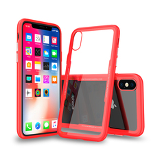 For iPhone X case colorful tpu pc tempered glass cover back mobile phone cases cover