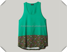 sublimation printing solid color tribal design tank tops with oval hem custom wholesal for women