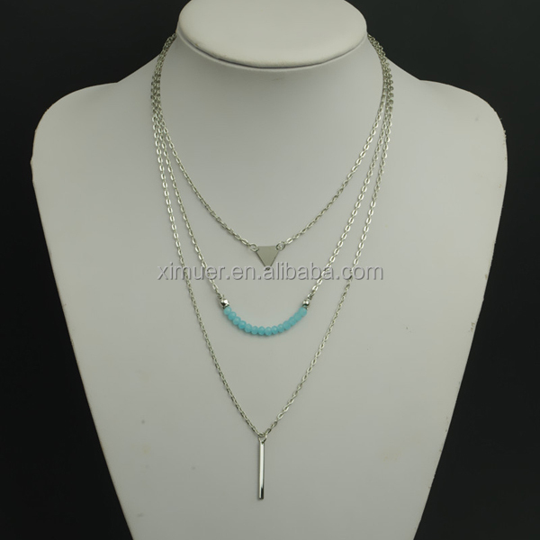 2015 Western most popular layered chain necklace wholesale
