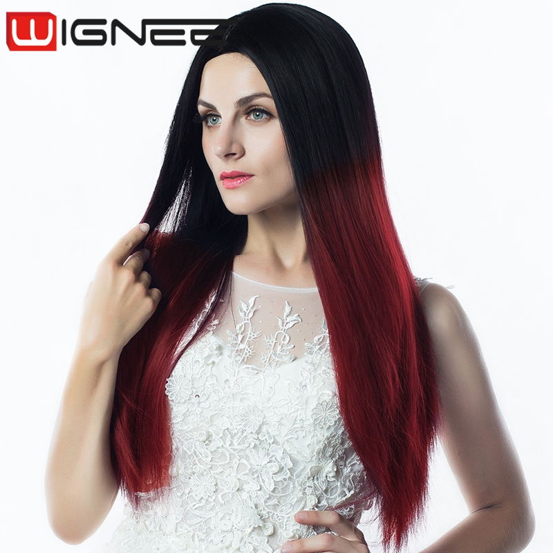 Ombre Burgundy Color Long Silky Straight Synthetic Hair Wig Heat Resistance Synthetic Hair Weaving Braided Wig For Women