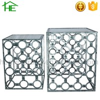 set of 2 shabby chic silver gray mirror square coffee table