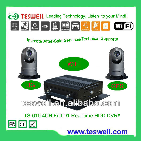 4ch Mobile DVR for Car Recorder GPS with HDD and SD card or Solid State Security Video recording can be 1 TB max