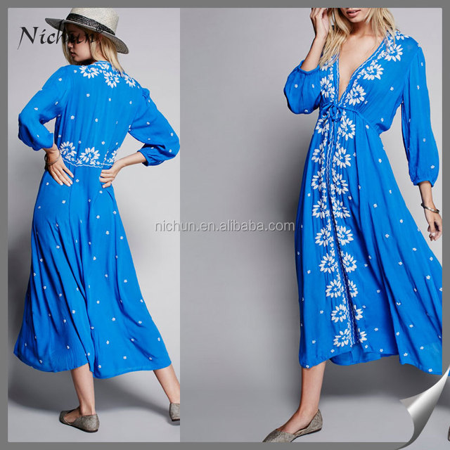 latest new fashion ladies floral embroidered dress V neck 3/4 long bubble sleeve clothes women maxi dress designs LB-W927016