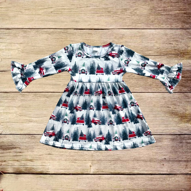 Hot sale children's girls boutique Christmas dress wholesale baby girl autumn and winter boutique clothing