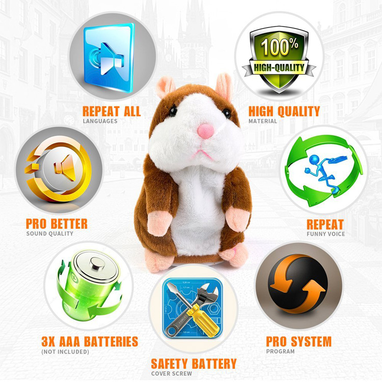 Voice Recording Talking X Hamster Animals Soft Plush Toy For Kids