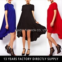 women clothing Chiffon Dress Asymmetric Hem vestidos femininos Short Sleeve Crew Neck Long Loose plus size Dresses G0648