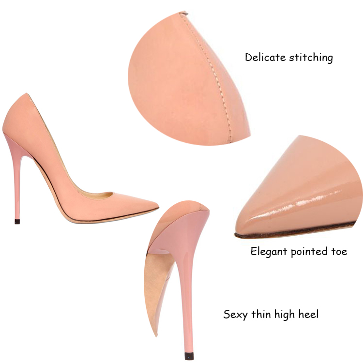 new design pink leather upper high heel pointed toe women single small orders ladies shoes guang zhou