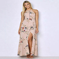 Sexy Sleeveless Polyester Halter Neck Boho Maxi Day Going Out Dress Floral Images