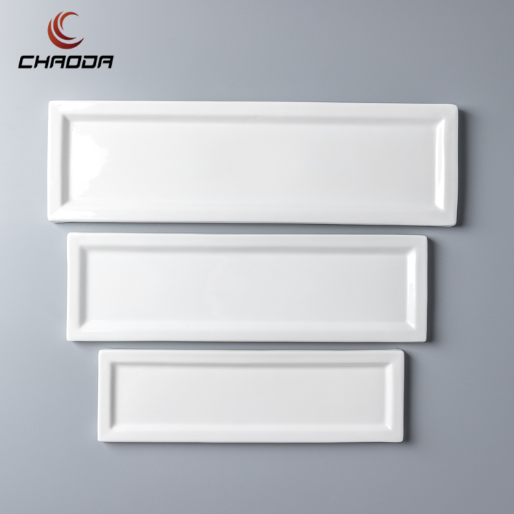 12-18 inch Ceramics dining plate set wholesale china manufacturer supply best price strong hotel white ceramic Long Strip Plate
