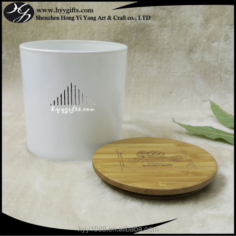 matt white glass jar candle holder with bamboo/wooden/aluminum lid with engraved logo