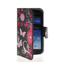 Butterfly Flower Slim Flip Wallet Card Stand Pouch Leather Case Cover For Samsung Galaxy S Duos S7562