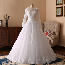 Real Pictures Scoop Lace Appliques Pearls Custom Made Ball Gown Long Sleeve Western Wedding Dresses