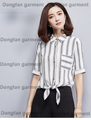 2017 new summer girls shirt short sleeved shirt waist tie all-matchladies shirts