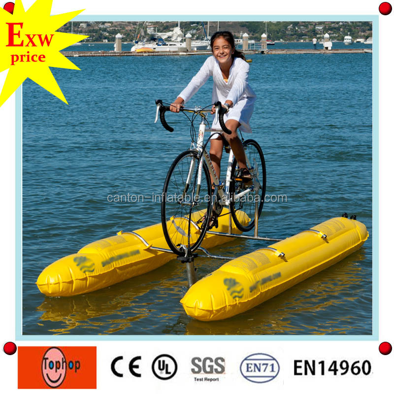 guangdong water play equipment floating water cycle bike waterbird water bike for sale