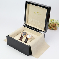 elegant top quality jewelry painting wooden watch box with logo glossy couple gift box