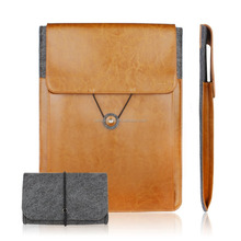 Leather Felt Sleeve and Charger Case for Notebook Tablet