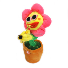 2017 Creative Light up LED Singing and Dancing Guitar Sunflower Baby Plush Plants Funny Toys Christmas Birthday Gift for Kids