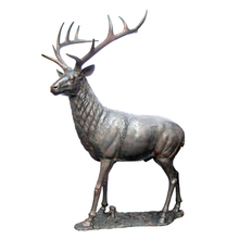 Garden decoration metal crafts life size deer statue large outdoor bronze sculptures