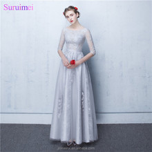 Dubai Bridesmaid Dresses Vestidos De Noite Longos Silver Appliques A Line Long Brides Maid Dresses with Sleeves