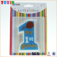 China supplier blue 1 years old number fancy birthday candles