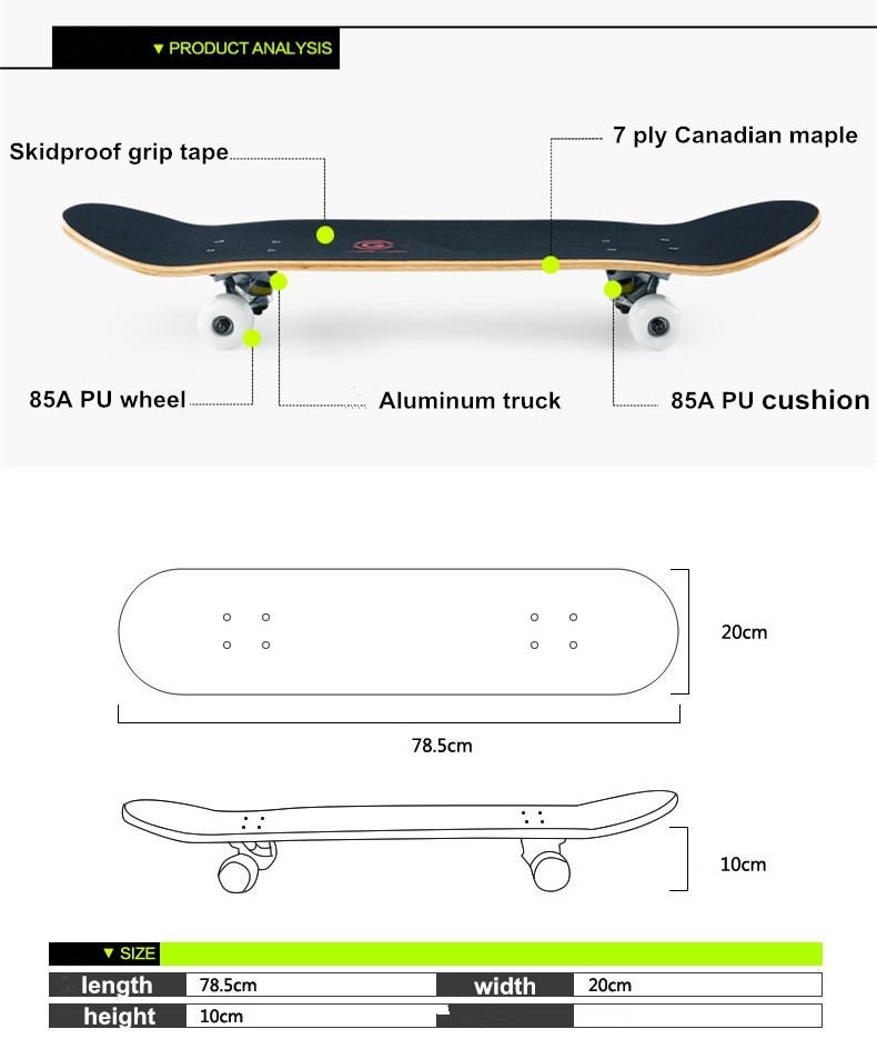31inch maple wood skateboard, 7 ply Canadian maple skateboard deck