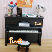 Dolls house miniature music instrument mini piano with stool model black HE005G