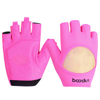 MOON BUNNY Brand Women Gym Gloves Slip Resistant Lycra & Leather Gloves Sports Body Building Eercise Training Yoga Fitness Glove