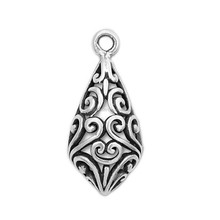 Antique Silver Plated Hollow Bail With Intricate Jewelry Making Pendants