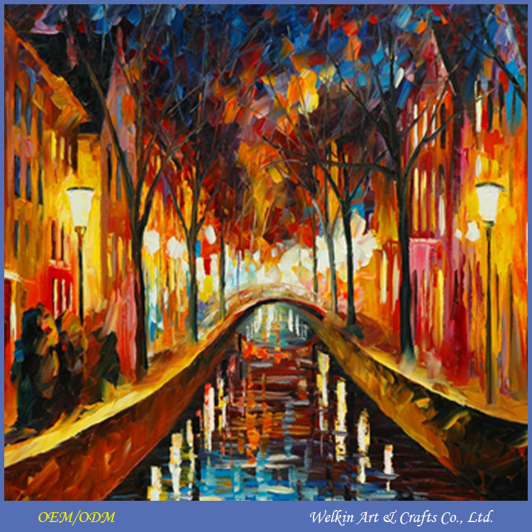 Light up framed and frameless colorful landscape paintings on canvas wall art
