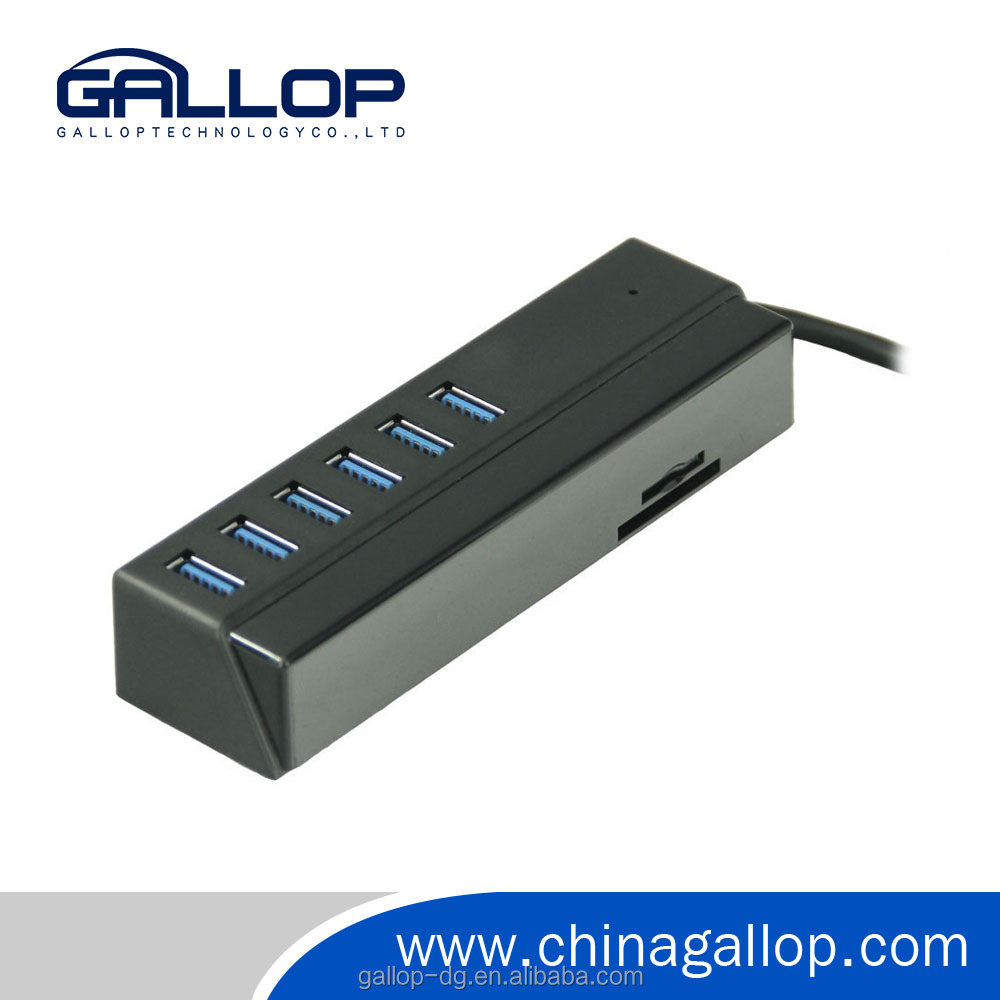 6 ports plastic USB3.0 HUB with 2xCard reader slot for SD, TF Card