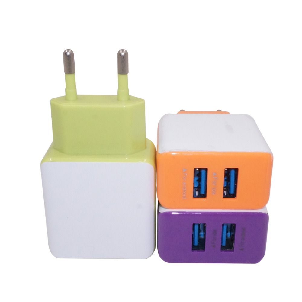 Universal AC Wall Charger 2 Usb 2A for Business Travel EU Plug For iphone Samsung