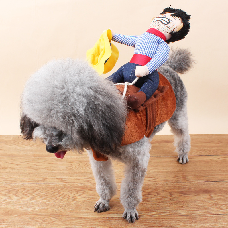 2016 Creative Riding Horse Dog Costume Novelty Pet Clothes Cowboy Dog Clothing
